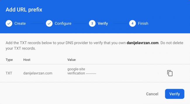 Firebase console window showing step three of creating a dynamic link and how to verify your domain ownership