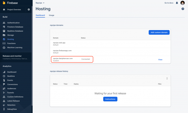Firebase Hosting showing custom subdomain connected