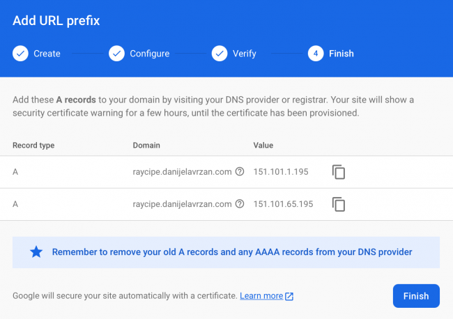 Firebase console window showing step four of creating a dynamic link and adding the A records to your DNS registrar settings