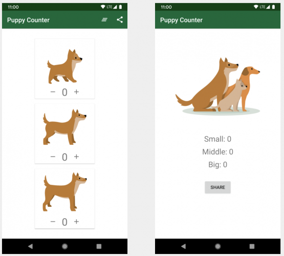 The main and share screens in the PuppyCounter app