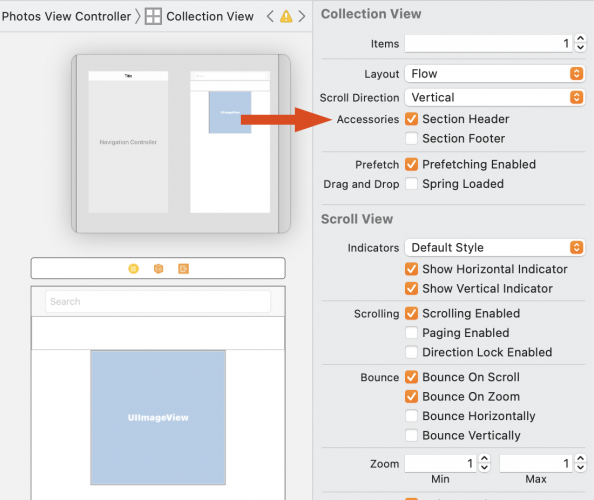 Check section header in Collection View dialog box