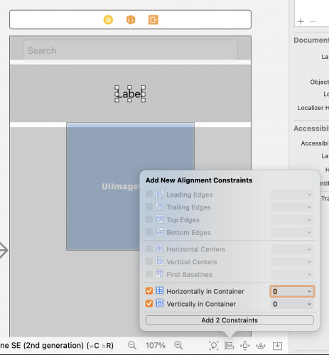 Add New Alignment Constraints dialog