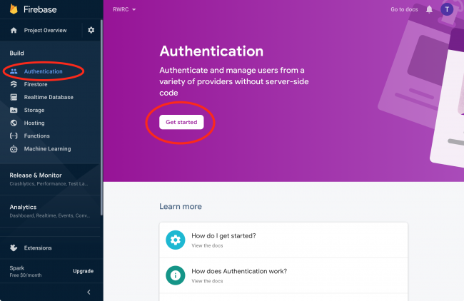 Firebase authentication console