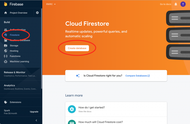 Creating a Firestore database