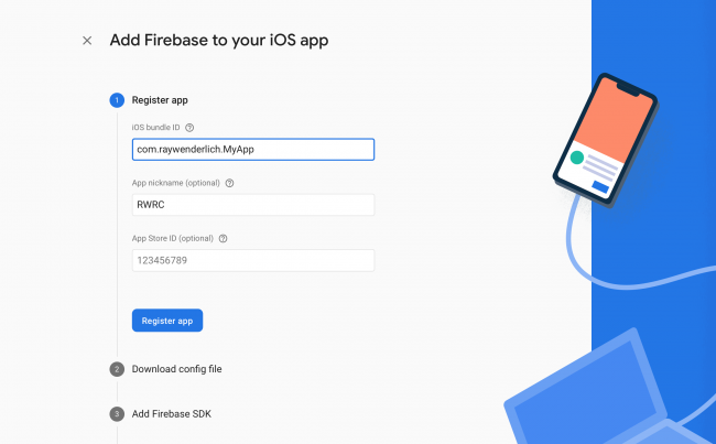 Register bundle ID and app name with Firebase