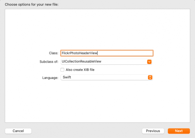 Dialog box for creating new FlickrPhotoHeaderView