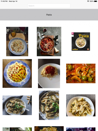 Search results showing food photos