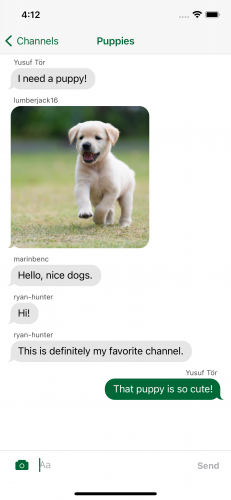 A conversation thread about puppies