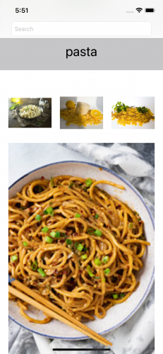 UICollectionViewCell selected state showing bowl of noodles