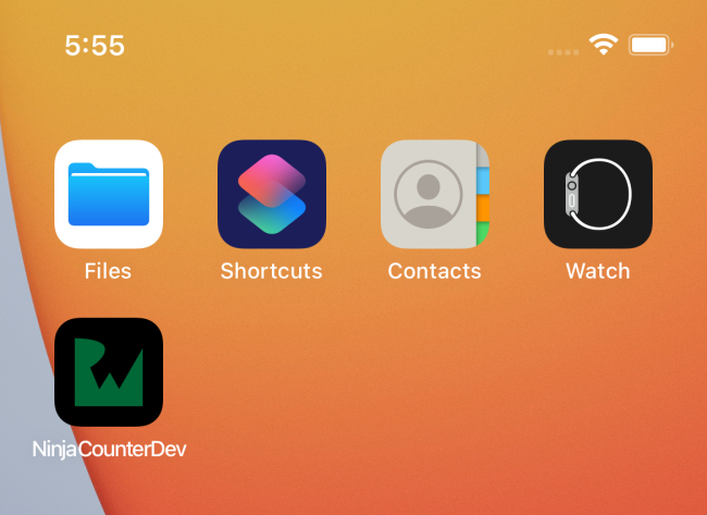iOS Simulator showing home screen