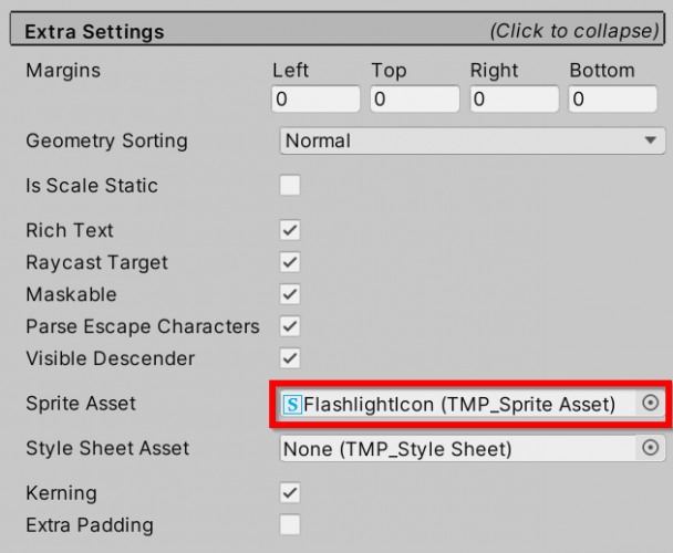 Setting the Sprite Asset in TextMesh Pro