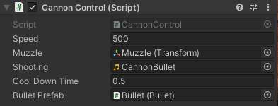 The Cannon Control component in the Inspector window