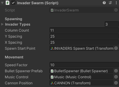 The Inspector window showing the Invader Swarm component