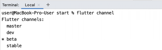 Example of the result of a Flutter channel command, showing the Beta channel with an asterisk next to it