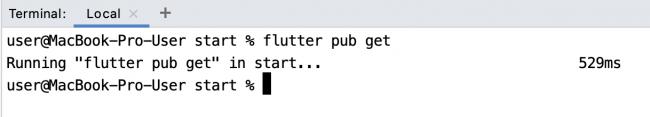Run flutter pub get