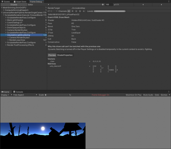 The frame debugger window and the game view