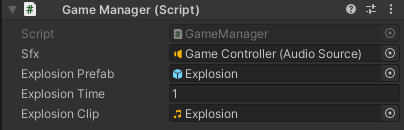 The Game Manager component in the Inspector window