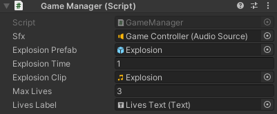 The Inspector for Game Manager