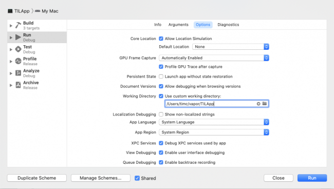 Set the custom working directory in Xcode