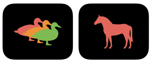 Two cards for Three Ducks, one with three ducks and one with a horse