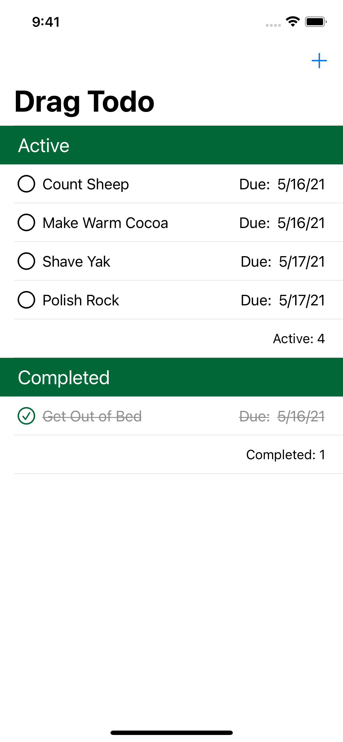 Drag Todo app after building and running the sample project