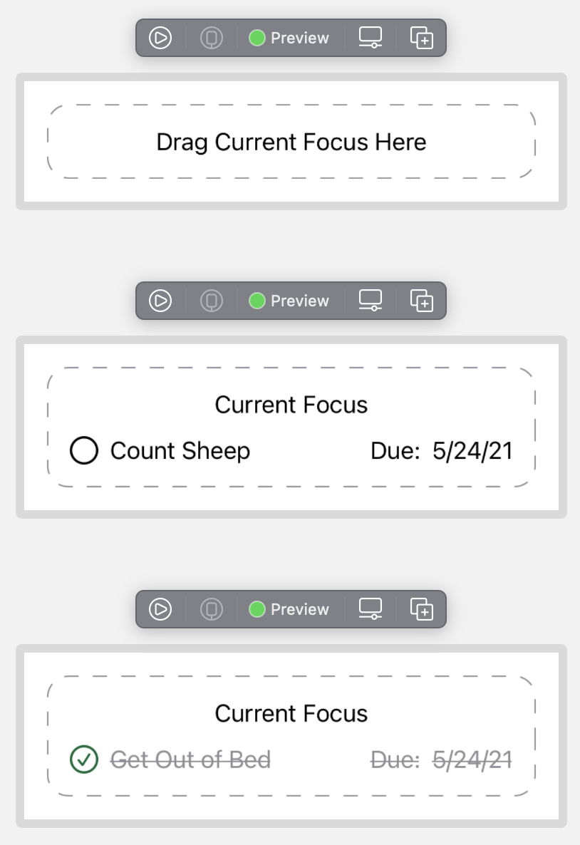 The UI of the FocusTodoView in both populated and empty state