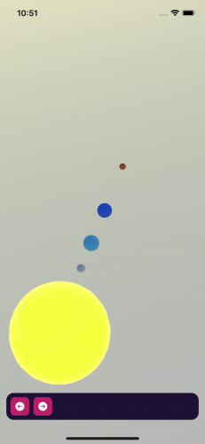 The four planets in the scene editor