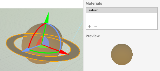 The Saturn material in the tube's Material inspector