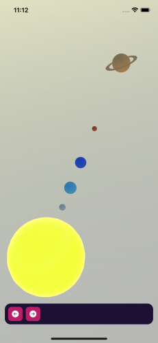 All planets in the running app