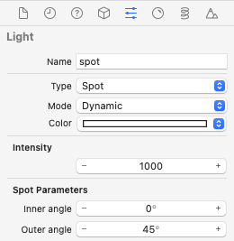 Properties for the sun's light in the Attributes inspector