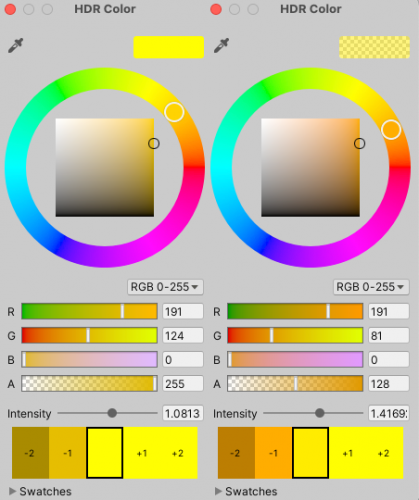Color settings for the face and the glow
