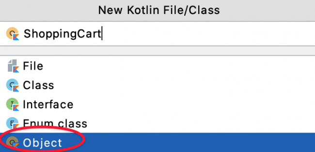 Android Studio pop-up to create a ShoppingCart singleton