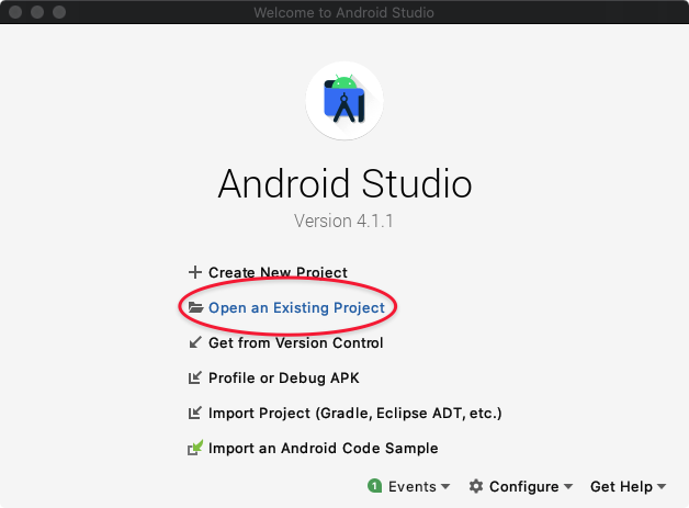 Instructions for opening a project in Android Studio