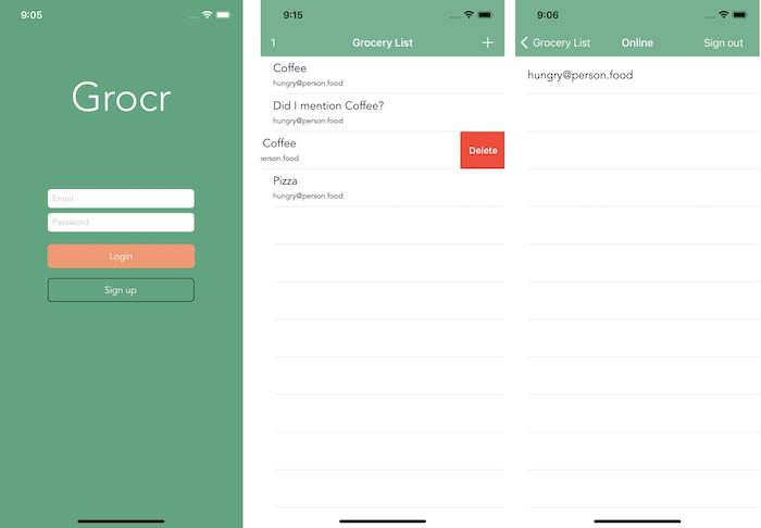 Grocr app screens