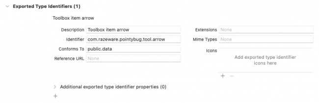 Adding a new exported universal type identifier in Xcode