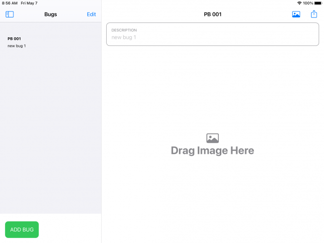 Drag and drop tutorial sample project add new bug screen