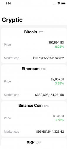 Cryptic home screen with live cryptocurrency market data