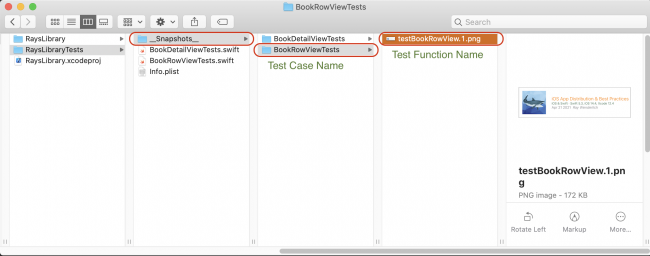 SnapshotTesting saves baseline images to your project directory
