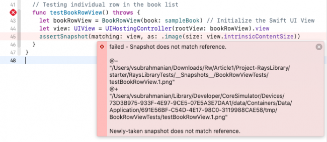 SnapshotTesting failure because snapshot does not match baseline reference