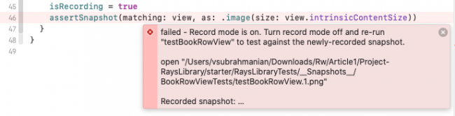 SnapshotTesting reports no reference snapshot in error message