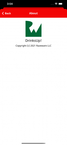 DrinksUp! About screen