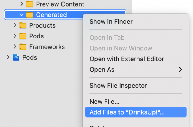 Add generated file to project