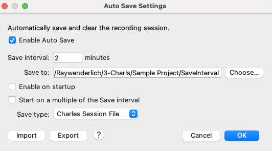 view or change Auto save settings from the Tools menu