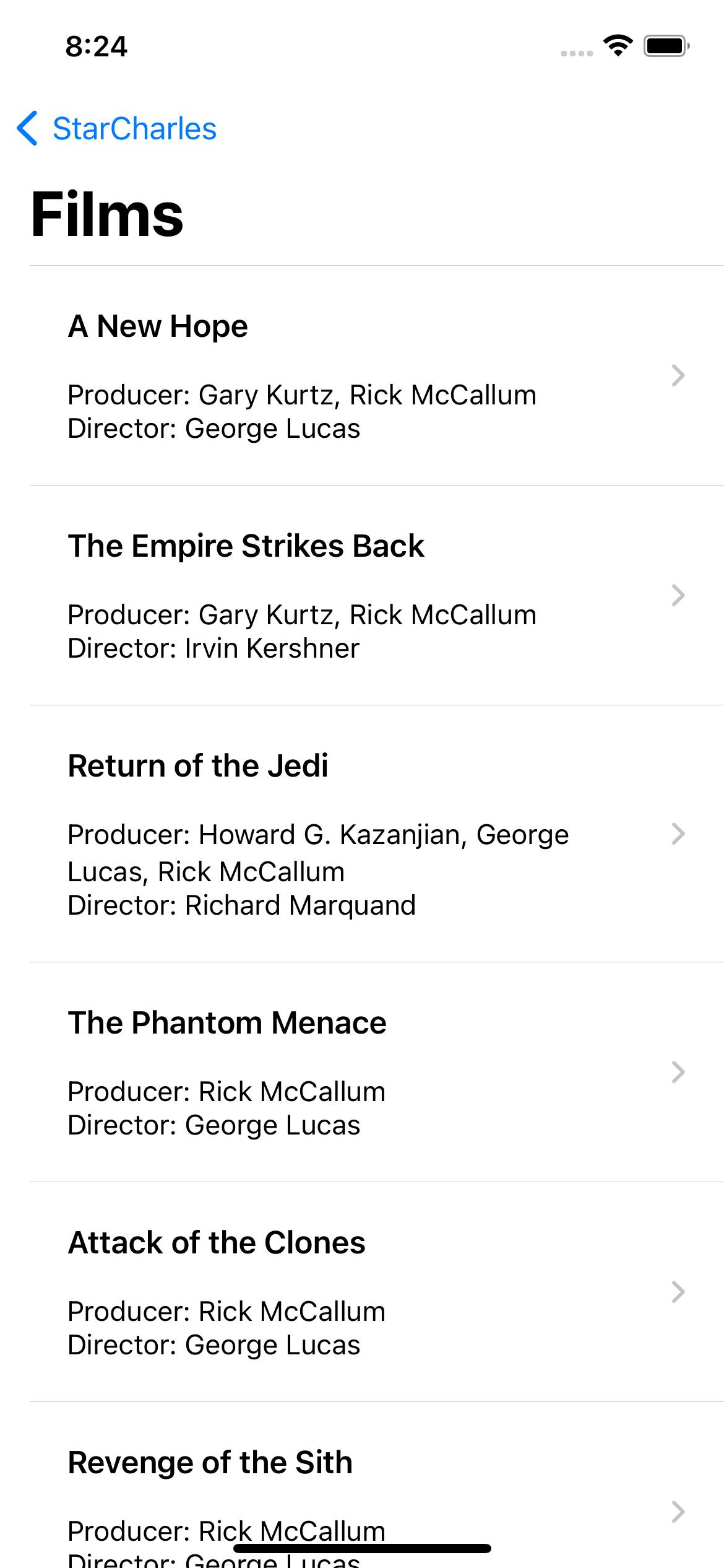 StarCharles Star Wars data sample app Films page