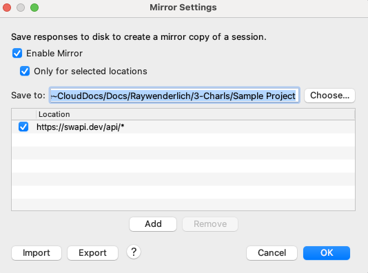 view or change mirror settings from the Tools menu
