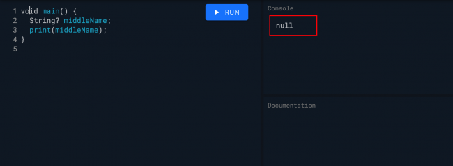 Dart null string output
