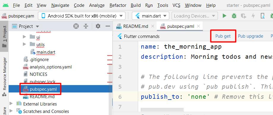 Fetch dependencies declared in pubspec.yaml file