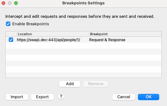 Breakpoint Settings in the Proxy menu