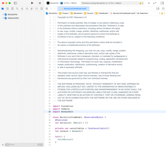 Xcode with NetworkKit integrated