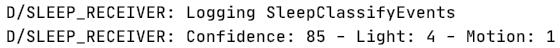 Sleep receiver events in Logcat